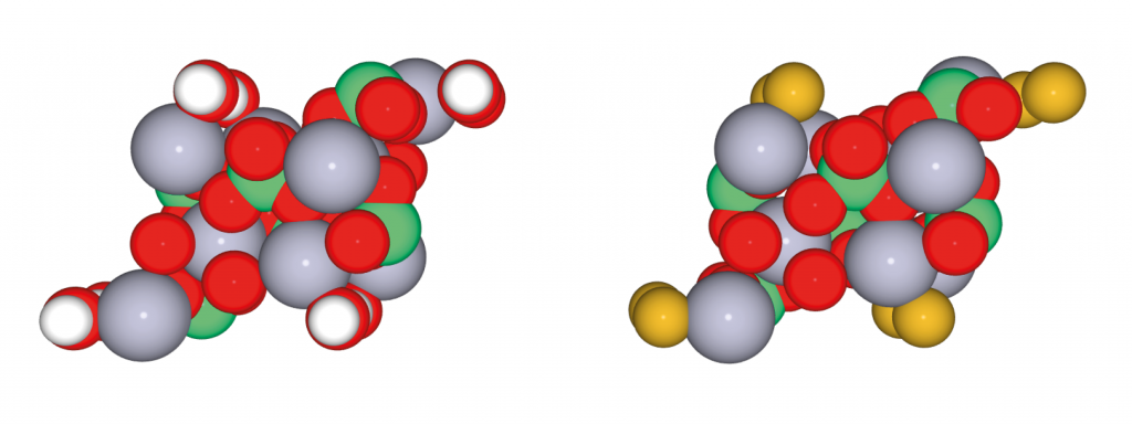 Hydroxyapatite (left) and fluorapatite (right) (created using Atomsmith Apps for chemistry education (http://www.bitwixt.com/jsite/atomsmithmoleculelab))