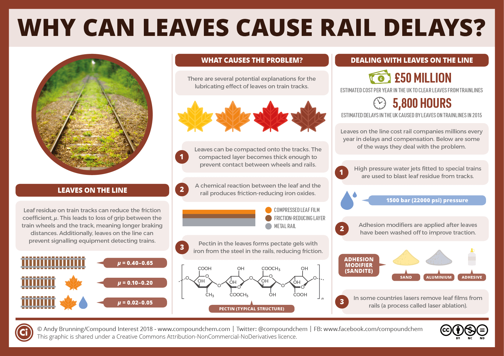 Why can leaves cause train delays? The chemistry of leaves on the line